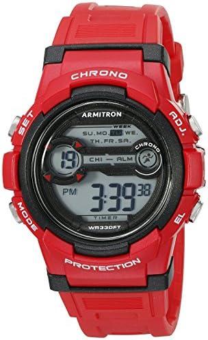 Armitron Sport Unisex 45 7064BRD Digital Chronograph Red Resin Strap Watch