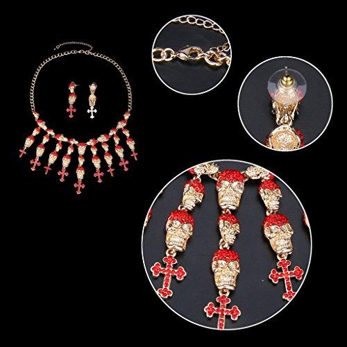 Ever Faith - Halloween Crâne Satanique Collier Boucle d'Oreilles Parures - Ton d'Or Rouge A08551-6