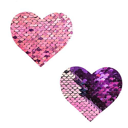Neva Nude My Lil Pony Pink Iridescent Purple Flip Sequin I Heart U Nipztix Pasties Nipple Covers -