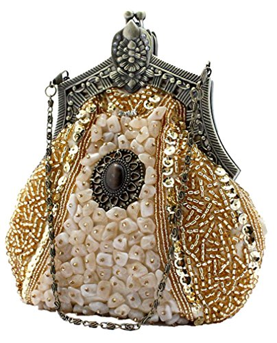 Purse Shoulder Gold Bags Clutch Beaded Party Bywen Womens Vintage qxzYwt4