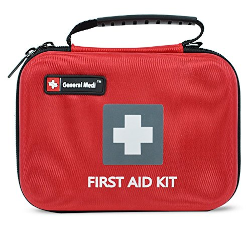 First Aid Kit,210 Pieces Survival Kit Bag - Includes Instant Cold Pack,Thermometer,Scissors,Bandages,Whistle for Travel, Home, Office, Vehicle,Camping, Workplace & Outdoor (Red) by General Medi