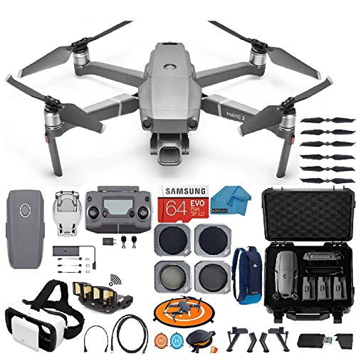 DJI Mavic 2 PRO Drone Quadcopter, with ND, Cpl Lens Filters, Waterproof Case and Backpack, 64GB SD Card, VR Goggles, with Hasselblad Video Camera Gimbal Bundle Kit with Must Have Accessories