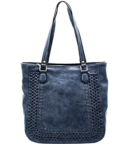 (Madison West Large Zip-Top Shoulder Tote w/Braided Accents- Blue)