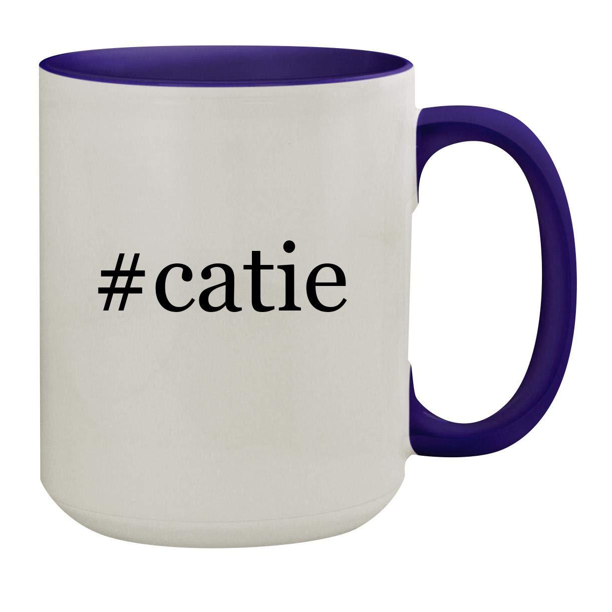 #catie - 15oz Hashtag Ceramic Inner & Handle Colored Coffee Mug, Deep Purple