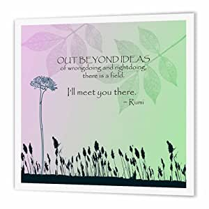 3dRose Out Beyond Ideas Rumi Quotes- Inspirational Art - Iron on Heat Transfer, 8 by 8-inch, for White Material (ht_79325_1)