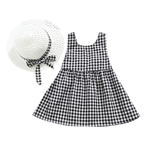 TEVEQ Toddler Kid Baby Girls Dresses Plaid Printed Bow Princess Dress+Hat Outfits Set Clothes Black