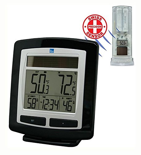 Wind & Weather ID8212 The Weather Channel Wireless Solar Temperatur,Black