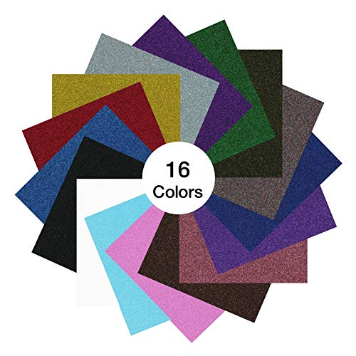 GIO-FLEX, Glitter Heat Transfer Vinyl Sheets 10 x 12 - 16 HTV Sheets Assorted Colors Bundle/Variety Pack, Adhesive Vinyl, Iron-On Transfer, Heat Press, DIY Design for T-Shirts