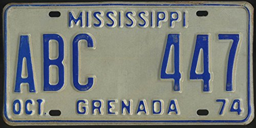 1974 Mississippi Grenada County license plate ABC 447 for sale  Delivered anywhere in USA