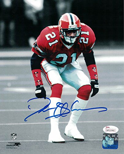 Deion Sanders Autographed Atlanta Falcons 8x10 Photo Red JSA