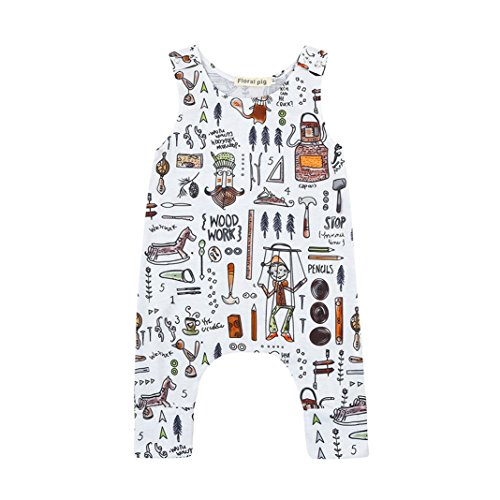 Lavany Infant Baby Boy Girl Romper Sleeveless Cartoon Jumpsuit Outfits Clothes Set (12-18 Months, White)