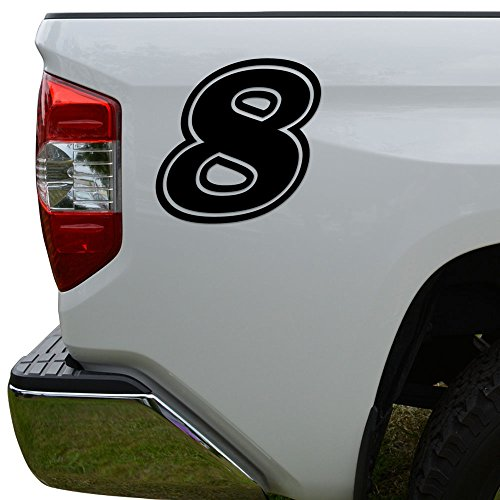 Racing Race Number 8 Eight Style 15 Die Cut Vinyl Decal Sticker For Go Kart Car Truck Motorcycle Window Bumper Wall Decor Size- [10 inch/25 cm] Tall Color- Gloss Black