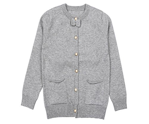 SMILING PINKER Little Girls Cardigan Long Sleeve Knit Sweaters with Cute Bow(7-8,Grey) by SMILING PINKER