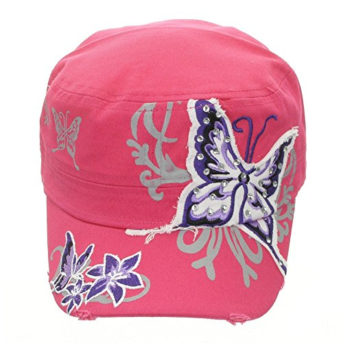 Women's Embroidered Butterfly Cadet Hat Pink ()