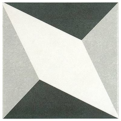 """SomerTile FRC8TWED Fifties Ceramic Floor and Wall Tile, 7.75"""" x 7.75"""", White/Grey"""
