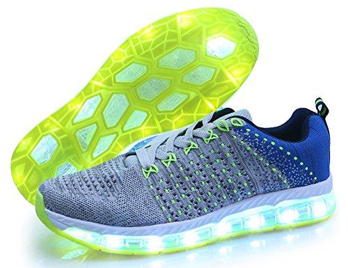 Mr.Ang Zapatos Led Niños Niñas 7 Color USB Carga Deportivas De Luces Zapatillas D10 Gris