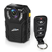 Pyle Rugged 64GB 1296P Water Resistant HD Police Body Camera Night Vision IR, Rechargeable Battery + Remote Control