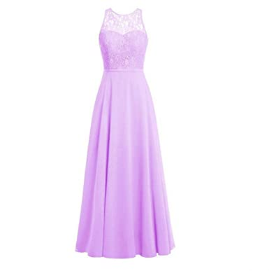 AK Beauty Womens Crew Neck Lace Bridesmaid Dresses Long Chiffon Prom Gown Lavender US2