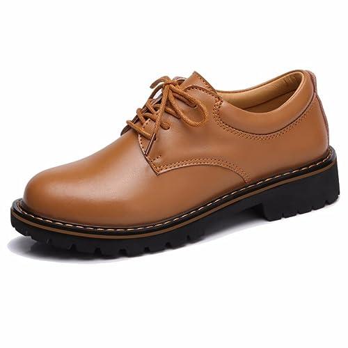 Moonwalker Zapatos con Cordones de Cuero Mujer Oxford con Cola de golondrina (EUR 36,Marron)
