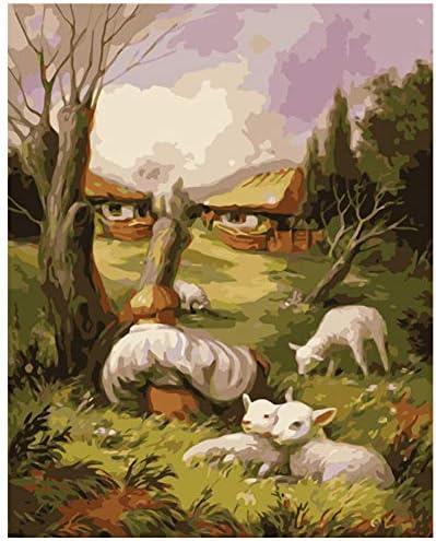 絵画による数字DIY 40x50 50x65cm子羊と祖父の風景キャンバス結婚式の装飾アート画像ギフト