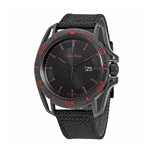 Calvin Klein Men's 'Earth' Swiss Quartz Stainless Steel and Leather Watch, Color:Black (Model: K5Y31ZB1)