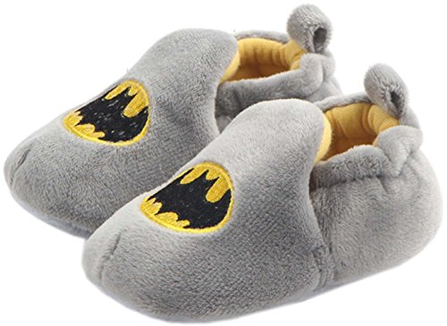 bettyhome Winter Plush Unisex Baby Newborn Hallowmas Batman Pattern Soft Sole Infant Toddler Prewalker Sneakers (0-1 Year) (Insole Length:120mm, Gray)