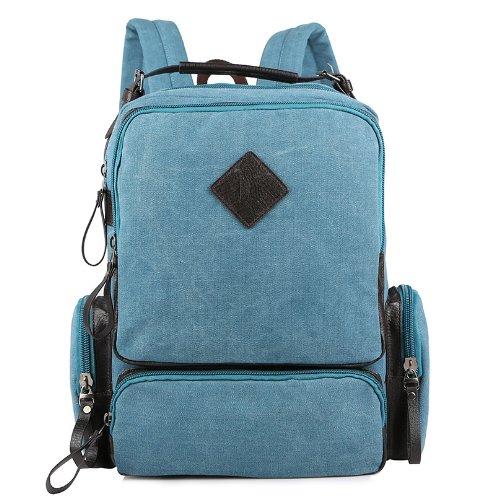 XIAOLI& Canvas Tasche Schultasche Rucksack, Grün Blue