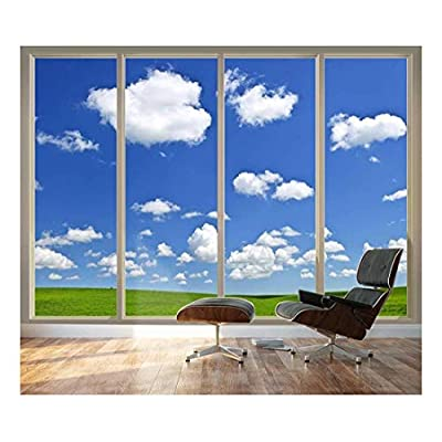 Handsome Style, Professional Creation, Large Wall Mural Clear Sky and Green Meadow Seen Through Sliding Glass Doors 3D Visual Effect Vinyl Wallpaper Removable Decorating
