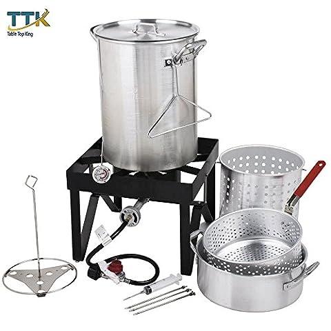 Tabletop king All Stainless Steel 30 Qt. Turkey Fryer Kit / Steamer Kit - Clam Steamer Pot