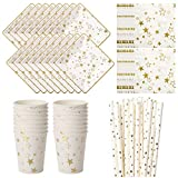 Vland Party Supplies by Gold Star pattern – Disposable Paper Dinnerware Set for 16 Guests – Fancy Design for Party, Dinner and Celebration – 16 Plates, 16 Cups, 20 Napkins, and 20 Straws