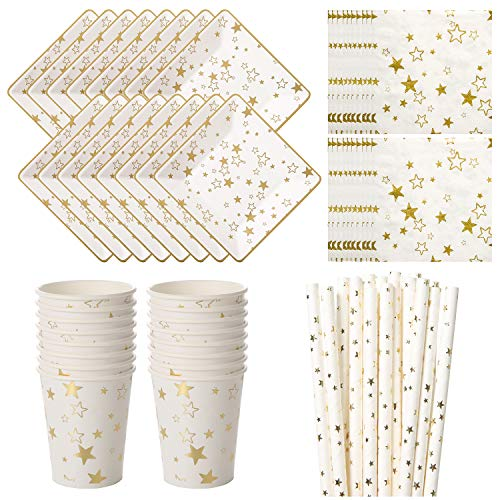 Vland Party Supplies by Gold Star pattern - Disposable Paper Dinnerware Set for 16 Guests - Fancy Design for Party, Dinner and Celebration - 16 Plates, 16 Cups, 20 Napkins, and 20 Straws
