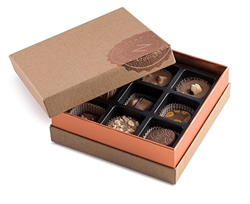 Premium Classic Fresh Miami Beach Milk Chocolate Truffles in a Decorative Fancy Chocolate Gift Box Individually Assorted 9 piece by The Nuttery NY