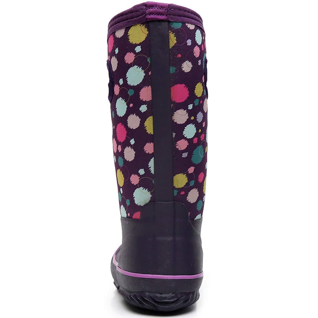 SOLARRAIN Girls Neoprene Rubber Waterproof Rain Boots for Kids Non Slip Mud Boots Winter Warm Outdoor Durable Snow Boots