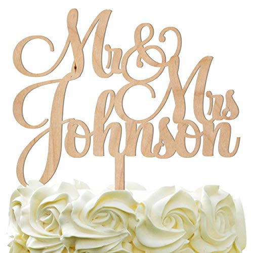Personalized Wedding Cake Topper - Wedding Cake Decoration Customized Mr & Mrs Last Name To Be Bride & Groom script fontWood by PersonalizedGiftLAnd (Image #3)
