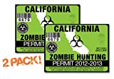 California-ZOMBIE HUNTING PERMIT TAG-2 PACK-DECAL STICKER-LICENSE-2012/2013-CA