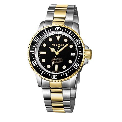 NEYMAR 40mm Automatic Watch 1000m Dive Watch Swiss 2824 Automatic Movement 500m Watch (Golden Black (Automatic Swiss Mens Wrist Watch)