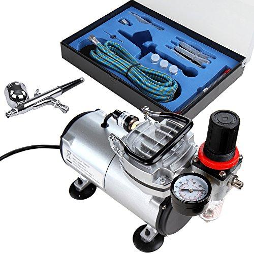 Timbertech Airbrush Set mit Kompressor, Double Action Airbrush Pistole und Zubehör (Düsen, Schlauch etc..)