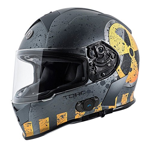 Grey Large Street Bikes - TORC T14B Bluetooth Integrated Mako Nuke Full Face Helmet (Flat Grey, Large)