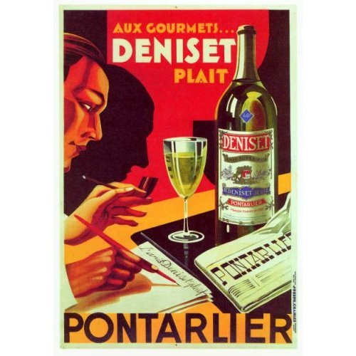 ANIS DENISET PONTARLIER FRENCH ALCOHOL DRINK MAN WRITING NEWSPAPER LARGE VINTAGE POSTER ON CANVAS REPRO