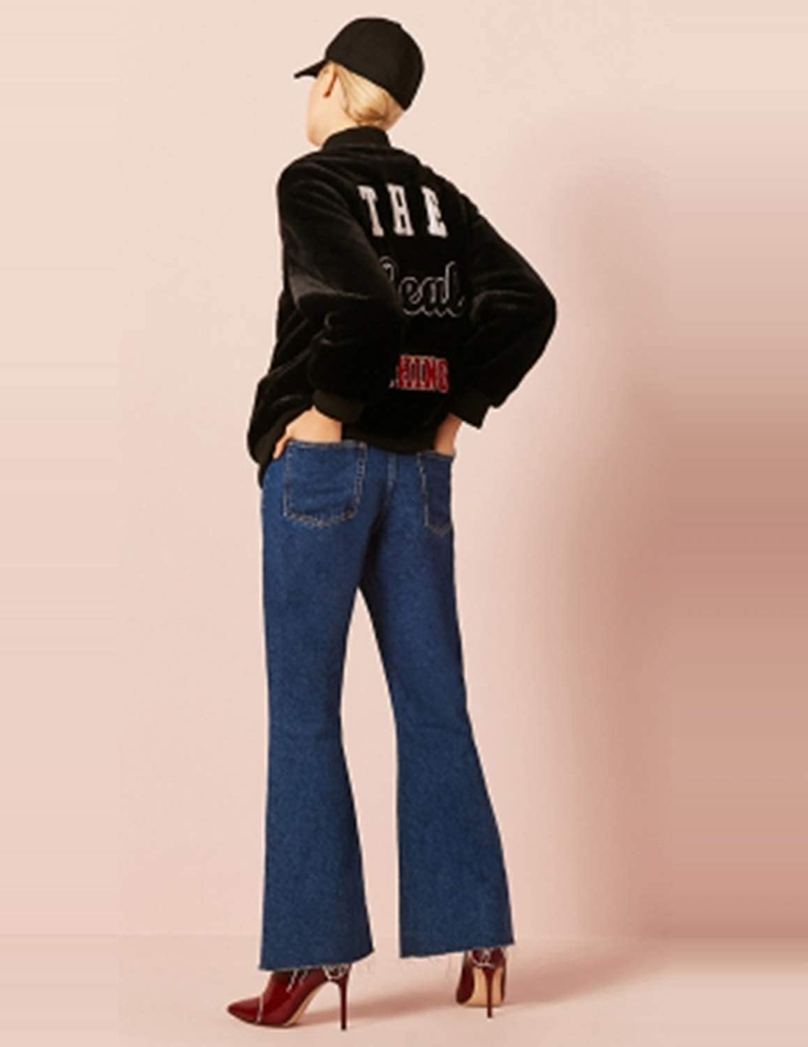IRISIE Women Street Style Letter Embroidery Print Ribbed Cuffs Imitation Fur Jacket