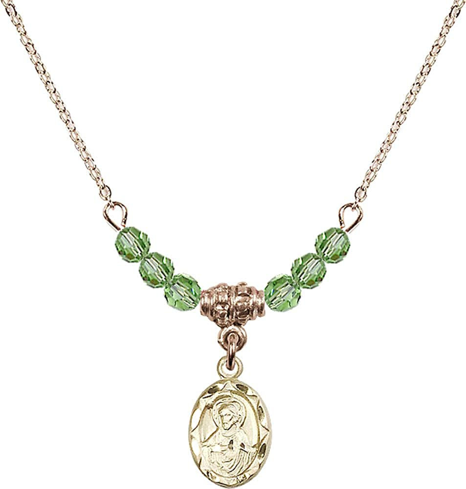 Bonyak Jewelry 18 Inch Hamilton Gold Plated Necklace w// 4mm Green August Birth Month Stone Beads and Scapular