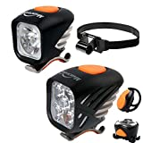Magicshine Extreme MTB Enduro LED Bicycle Lights, Mountain Bike Lights Combo, 5000 Max Lumen Handlebar Light, 1200 Max Lumen Cree Headlamp with Helmet Strap Enduro Trail Offroad