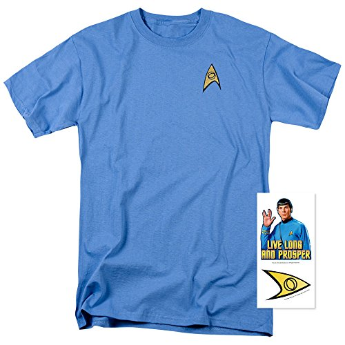 Star Trek Science Uniform Shirt w/ Liquid Gold Ink & Exclusive Stickers (L) (Star Trek Enterprise Uniform)