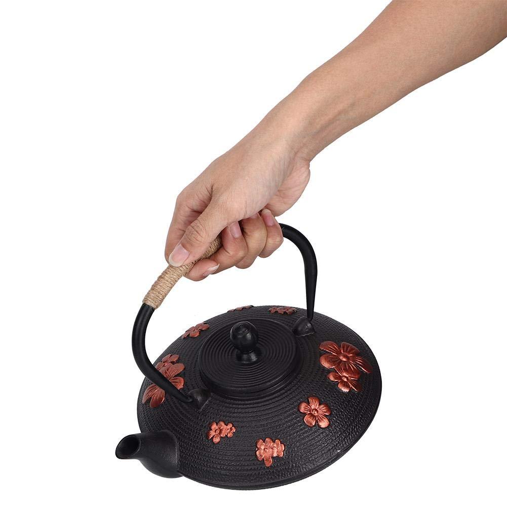 Jacksking Tea Pot, 0.9L Oriental Cherry Pattern Classic Cast Iron Infuser Teapot Kettle Drinkware Tool(Red) by Jacksking