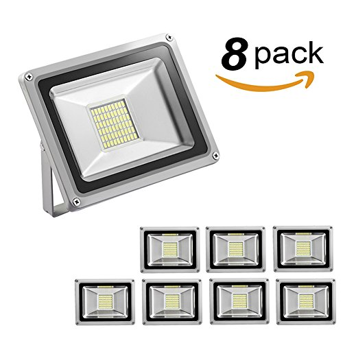 30W Led Flood Light,Outdoor Spotlight,Waterproof IP65,6000-6500K, 3300lm, Super Bright Security Lights for Garage, Garden, Lawn,Yard and Playground (Cold White) (8 Pack) by Missbee