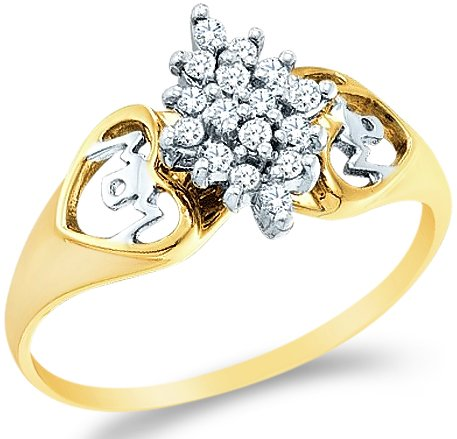 5-10k Yellow and White Two 2 Tone Gold MOM Mothers Day Heart Love Marquise Shape Cluster Round Cut Ladies Diamond Fashion Ring Band 10mm (.15 cttw) ()