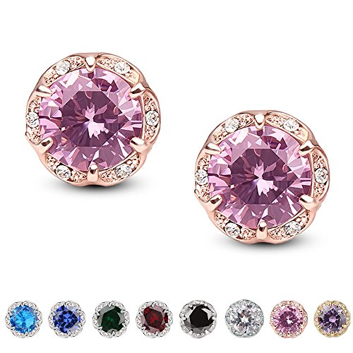 Jardme Crown Shape Crystal Round earring stud White Cubic Zircon Earring Stud (Pink)