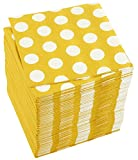 150-Pack Decorative Napkins - Disposable Paper Party Napkins with Polka Dots - Dinner and Cocktail Napkins for Birthday, Celebration and Events, Yellow, 10 x 10 Inches