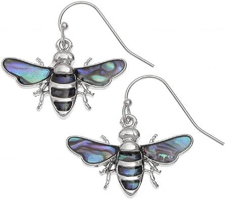 Abalone Natural Paua Shell Pink Butterfly Large Stud Earrings Gift Box BellaMira