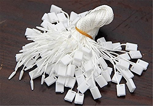 Obling 1000pcs Hang Tag Polyester String Snap Lock Pin Loop Fastener Hook Ties (White) by Obling